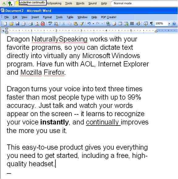 Dragon NaturallySpeaking speech recognition